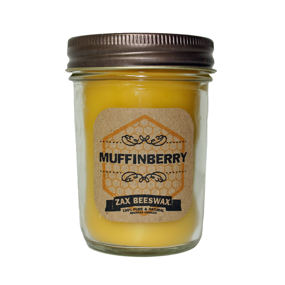 Muffinberry Scented Beeswax Mason Jar Candle 8 Oz