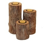 River Birch Wood Beeswax Tealight Candle Holder