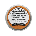 White Tea & Ginger Aromatherapy Beeswax Travel Tin Candle | 4 Oz