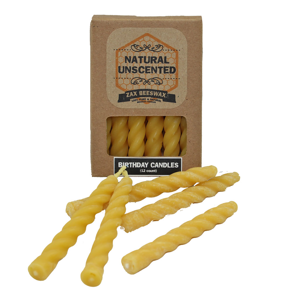 100 Pure Beeswax Birthday Cake Candles