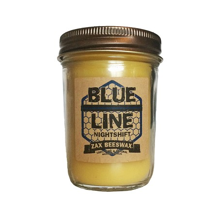 """Blue Line"" Nightshift Scented Beeswax Mason Jar Candle"