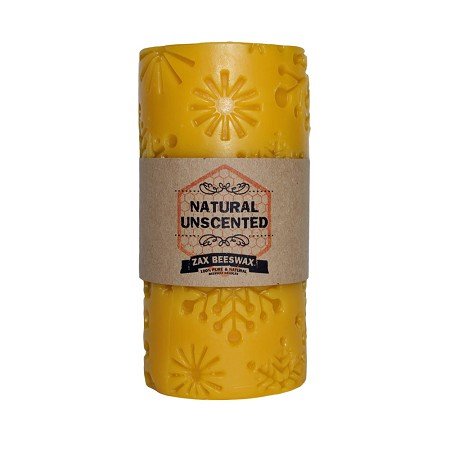 100% Pure Beeswax Snowflake Holiday Pillar Candle | 3X6
